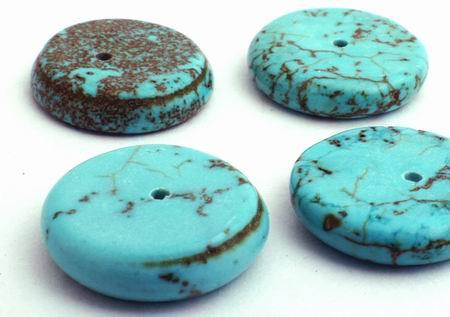 10 Blue Turquoise Disc  Beads - 14mm