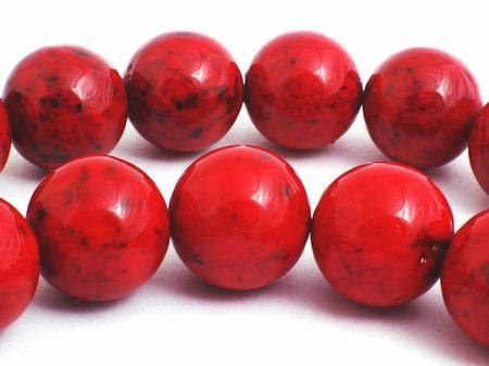 Large 12mm Rich Burnt Red Fossil Beads
