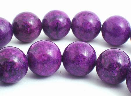 Large 12mm Deep Purple Fossil Beads