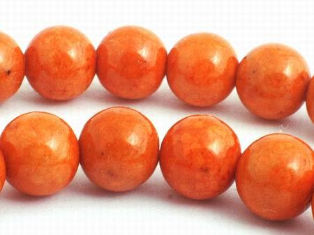 Rich Salmon Orange Fossil Beads - 6mm