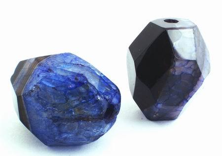 2 Large Faceted Dark Blue Fire Agate Nugget Beads