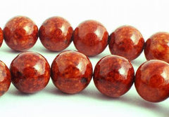 Earthy Fire Orange Fossil Beads - 8mm
