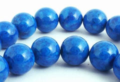 Gleaming Midnight Blue 8mm Fossil Beads