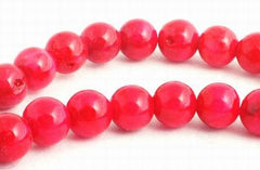 Enticing Scarlet Red Fossil Beads - 4mm