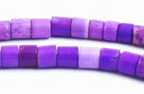 126 Purple Turquoise Tube Beads - 4mm x 3mm