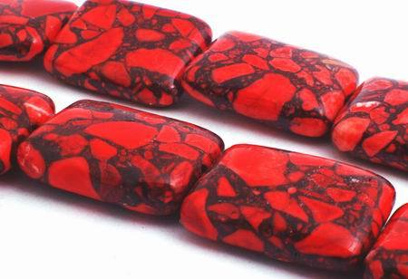 Fire-engine Red Spider Web Turquoise Pillow Beads