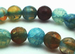 Blissful Aqua-Blue Crab Fire Agate Faceted 6mm Beads