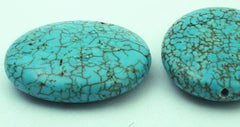 6 Splendid Spider Vein Blue Turquoise Oval Beads - 29mm x 25mm