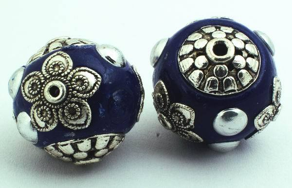 2 Large Magical Arabian Royal Blue & Silver Beads - 19mm