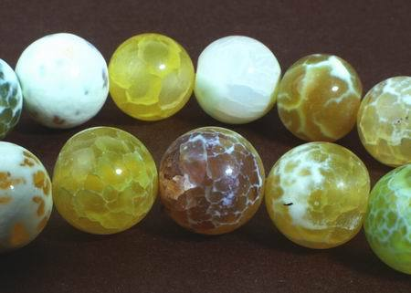 Breathtaking Spring Yellow & Green Crab Fire Agate Beads - 10mm