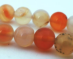 39 Large Subtle Light Carnelian Beads - 10mm