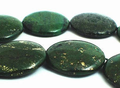 6 Large Pyrite Green Aventurine Button Beads - Heavy!