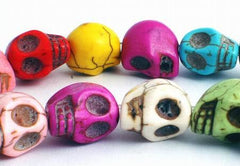 30 Unusual Summer Colour Carved Skull Turquoise Beads - very popular!