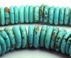 98 x 10mm Blue Turquoise Heishi Disc Beads