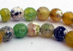 Sparking Faceted Olive Green Crab Fire Agate Beads - 6mm