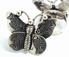 Enchanting Silver Butterfly & Fish Ring - Unusual!