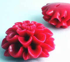 2 Large Romantic Pink Molded Acrylic Flower Beads