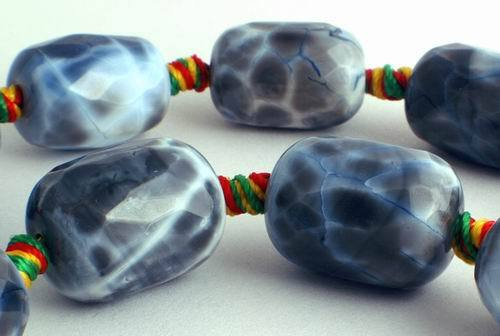 Distinctive Faceted Slate Grey Crab Fire Agate Barrel Beads