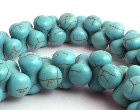 70 Unusual Blue Turquoise Siamese Beads