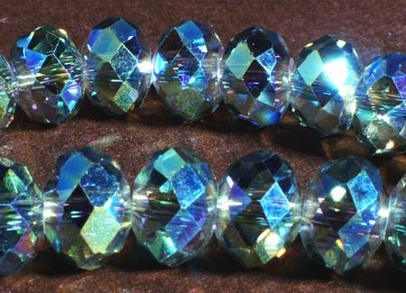 Sparkling FAC AB Blue & Gold-Green Diamond Crystal Beads