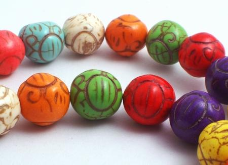 Large Victorian Rainbow Turquoise Beads - 10mm