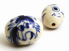 Large Porcelain Barrel Dragon Bead - Unusual!