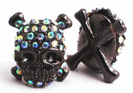 Rhinestone Hip Hop Skull & Cross Bone Charm Bead