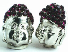 Heavy Buddha Head Charm Bead - Amethyst or Black Hair