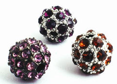 Purple or Amber Rhinestone  Bling Bling Charm Beads