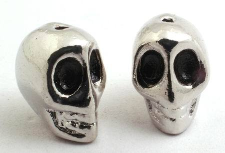 2 Heavy Solid Metal Skull Beads - 12 x 9mm