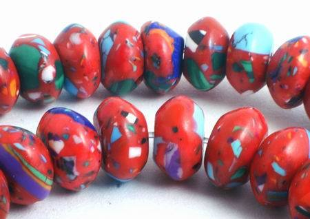 86 Fire-Red & Blue Calsilica Rondelle Beads