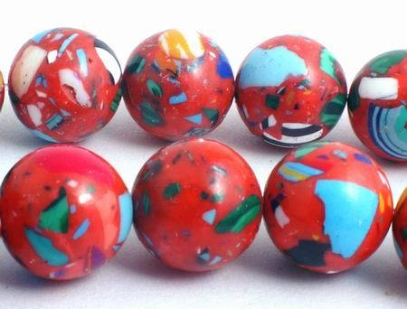 40 Fire-Red & Blue 10mm Calsilica Beads