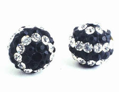 2 Striking Black & White Glass Charm Beads
