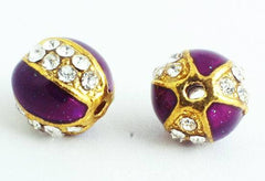 Royal Purple, Gold & Crystal Bling Charm Bead