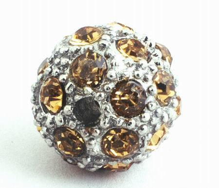 Heavy 12mm Gold  Bling Bling Rhinestone  Charm Bead