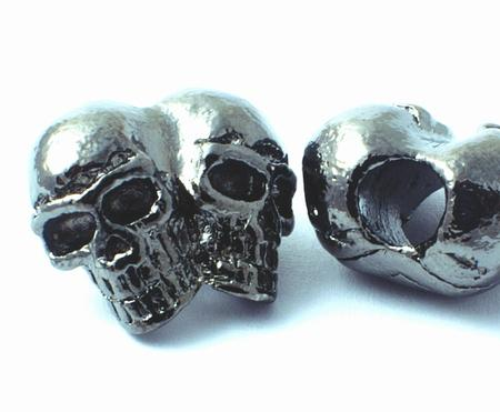 Slate-Grey Double Skull Metal Bead - heavy with large hole