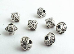 50 Magical Silver Spinning-Top Bead Spacers