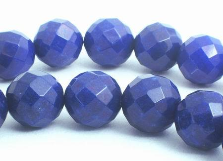 Large 10mm Faceted Royal Blue Jade Beads