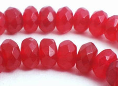 100  Faceted  Ruby Red Jade Diamond Rondelle Beads