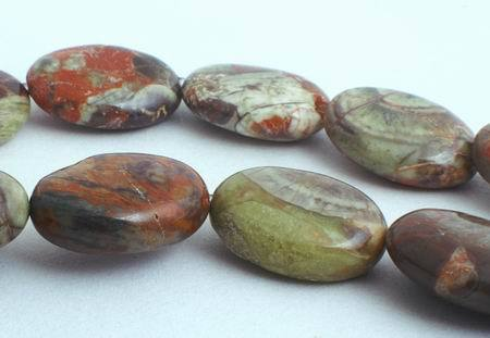 24 Earthy Lake Superior Agate Oval Beads - Beautiful Sheen