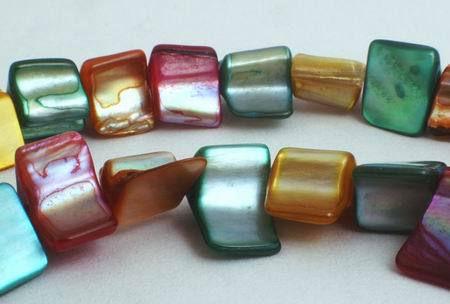 Gold, Aqua & Maroon Mother-of-Pearl Triangler Nugget Beads