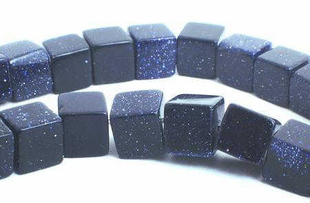 Sparkling Midnight Blue Bluestone Cube Beads