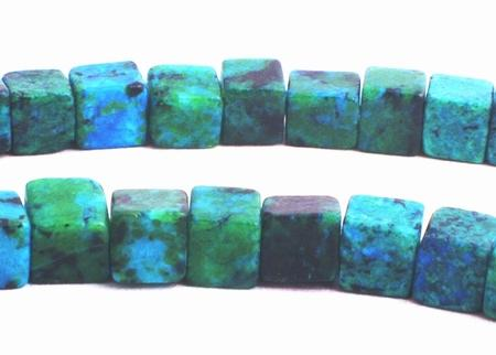 94 Enchanting Lustrous Azurite Chrysocolla 4mm Cube Beads