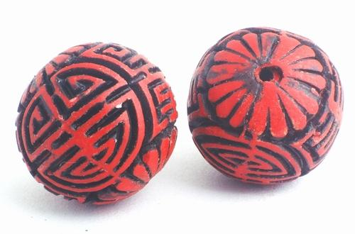2 Large Deep-Red Mystical Carved Cinnabar Beads