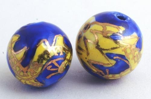 2 Royal Blue & Imperial Yellow Dragon Cloisonné Beads