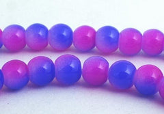 Eye-catching Lavender & Blue Glass Beads - 6mm