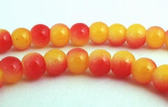 Romantic Sunset-Red & Yellow Glass Beads - 6mm