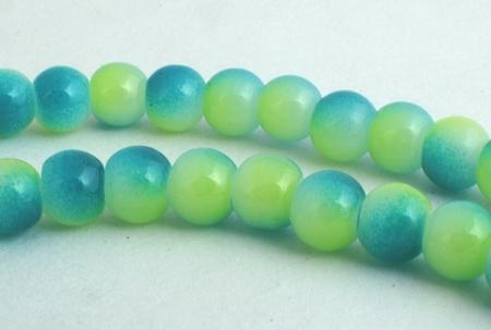 Tranquil Lime-Green & Blue Glass Beads - 6mm