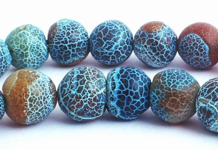 Unusual Frosted Brown with Blue Spider Web Agate Beads - Large 12mm