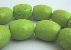 8 Titanic Apple-Green Gaspeite Barrel Beads - Very Heavy 24mm!